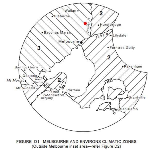 Image 11: Climate zone of Greensborough (Represented by the red spot) – Image sourced from AS 2870 - 2011
