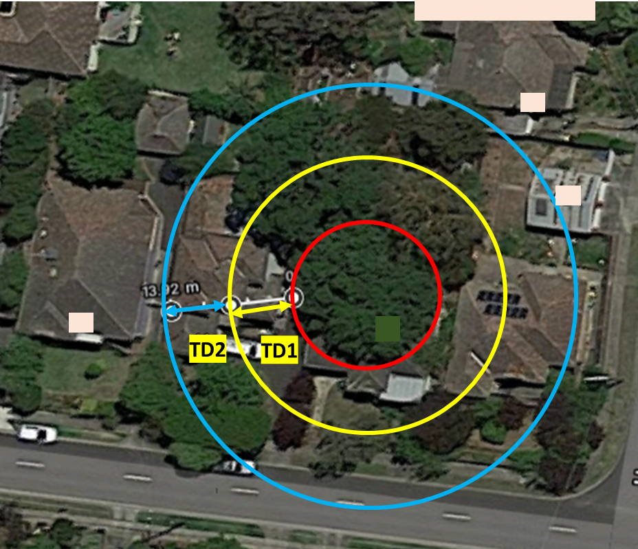 Image 13: Influence area of the tree in discussion for soil suction changes (Image sourced from Google maps) Conclusion: