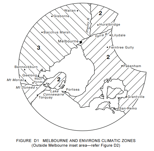 Image 6: Climate zones in and around Melbourne (Image sourced from AS 2870 – 2011)